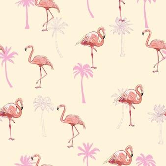 Ilustración de vector de patrones sin fisuras flamingo