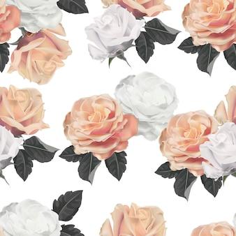 Ilustración de vector de patrones sin fisuras de flor rosa
