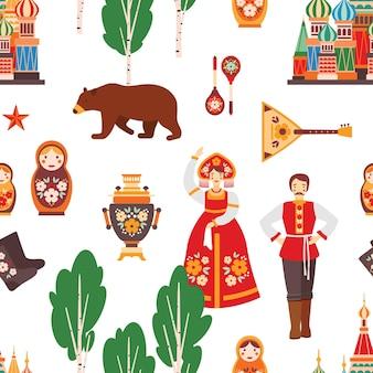 Ilustración de vector de patrones sin fisuras folk ruso
