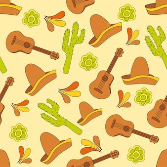 Ilustración de vector de patrones sin fisuras de los iconos de méxico. carnaval o festival de fondo de elementos tradicionales mexicanos