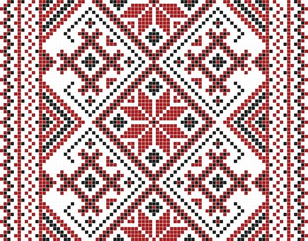 Ilustración de vector de patrones sin fisuras de mosaico ucraniano