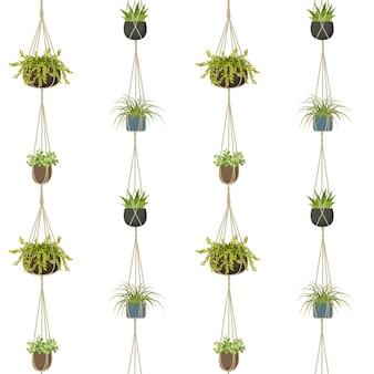 Ilustración de vector de patrones sin fisuras de planta de macramé aislado sobre fondo blanco