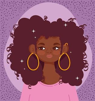 Ilustración de vector de pelo rizado de dibujos animados de retrato de niña afroamericana