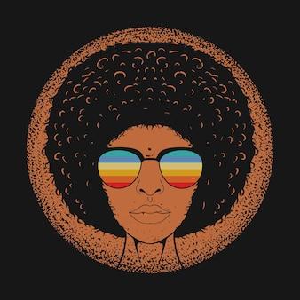 Ilustración de vector de pelo rizado de mujer hermosa