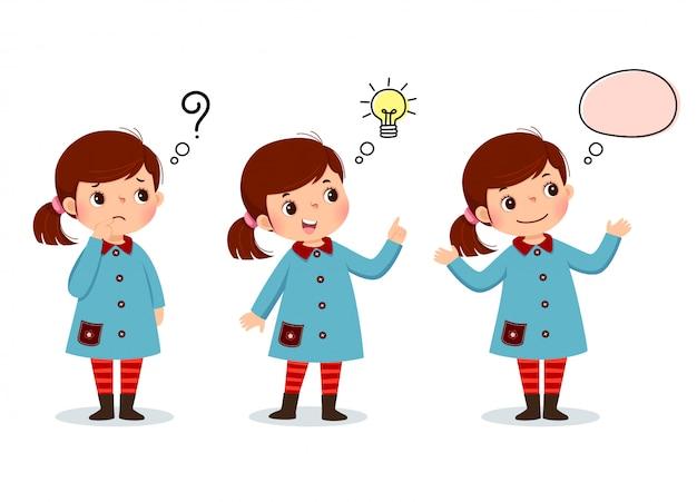 Ilustración de vector de pensamiento de niño de dibujos animados. chica pensativa, confundida y con bombilla ilustrada sobre su cabeza.