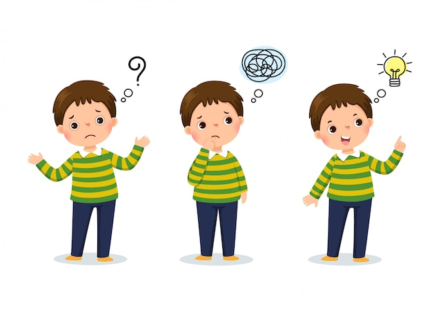 Ilustración de vector de pensamiento de niño de dibujos animados. niño pensativo, niño confundido y niño con bombilla ilustrada sobre su cabeza