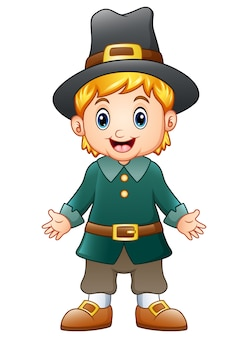 Ilustración del vector del peregrino del muchacho de la historieta