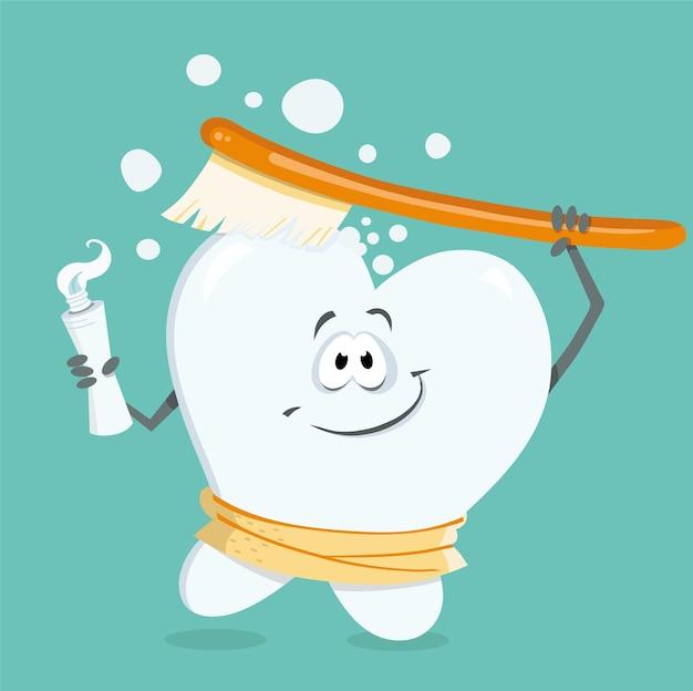Ilustración de vector de personaje de dibujos animados de diente sano