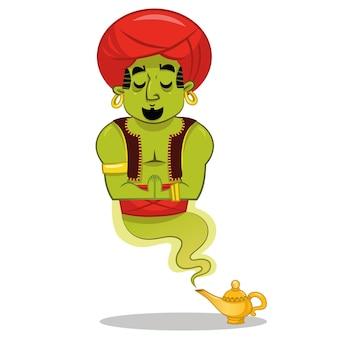 Ilustración de vector de personaje de dibujos animados de genio