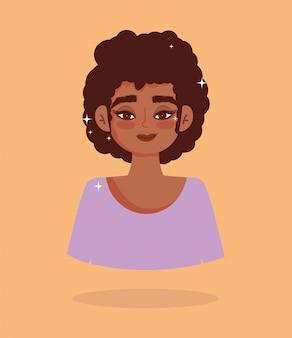 Ilustración de vector de personaje de dibujos animados de retrato de pelo corto de niña afroamericana