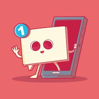 Ilustración de vector de personaje de icono de mensaje concepto de diseño social de tecnología de comunicación