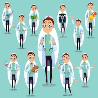 Ilustración de vector de personaje médico, hombre en estilo de dibujos animados, en diferentes poses, sosteniendo píldora, lupa, tubo, imagen de rayos x con esqueleto, estetoscopio.