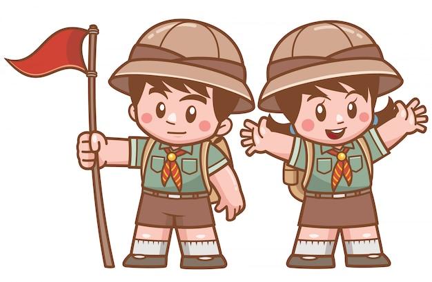 Ilustración de vector de personaje de niños scout
