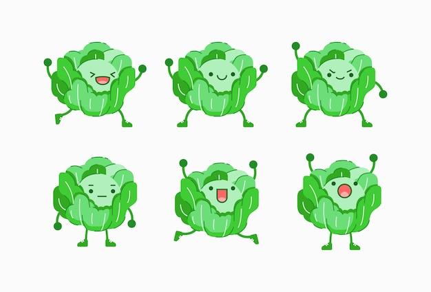 Ilustración de vector de personaje de repollo con diferente expresión facial y corporal