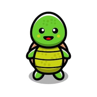 Ilustración de vector de personaje de tortuga linda