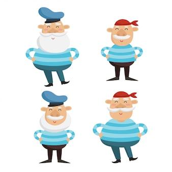 Ilustración de vector de personajes de capitán y marinero feliz en camisas a rayas aisladas en blanco