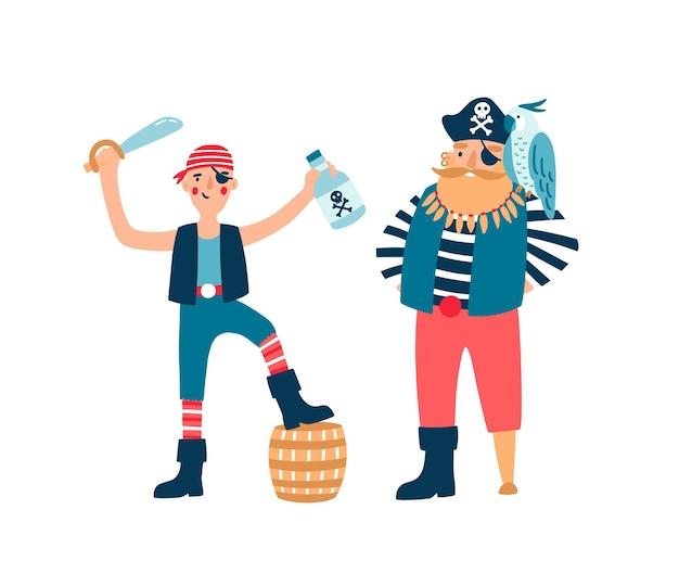 Ilustración de vector de personajes de dibujos animados de piratas