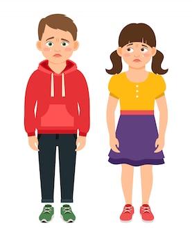 Ilustración de vector de personajes niños llorando. niños tristes y frustrados con ojos llenos de lágrimas.