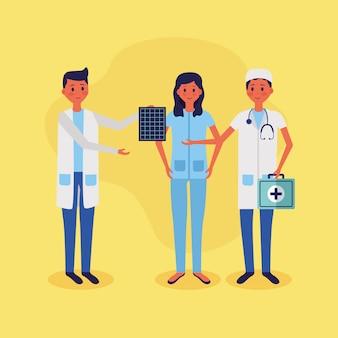 Ilustración de vector de personal médico personas