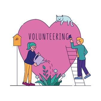 Ilustración de vector de personas voluntarias de caridad