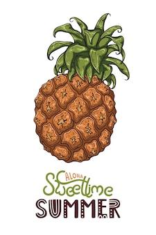 Ilustración de vector de piña. letras: aloha sweet time summer.