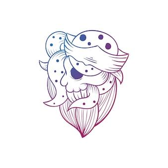 Ilustración de vector de pirata de cráneo