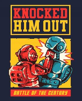 Ilustración de vector de pixel art de batalla de robots y golpearse en la arena con estilo de colores de los 80.