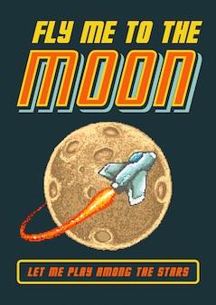 Ilustración de vector de pixel art del transbordador espacial volando a la luna con estilo de colores de videojuegos de los 80