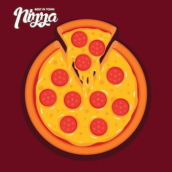 Ilustración de vector de pizza de pepperoni sabroso