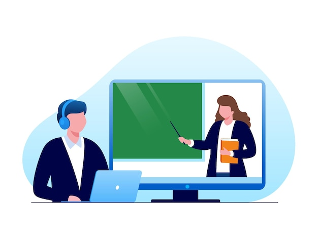 Ilustración de vector plano de aprendizaje en línea o elearning para banner