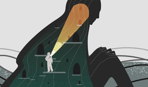 Ilustración de vector plano de atención plena y autoanálisis. mujer con linterna buscando personaje de dibujos animados de profundidad de espíritu. psicología positiva y autoconciencia. psicoanálisis, concepto de psicoterapia.