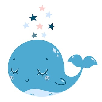 Ilustración de vector plano de ballena azul y rosa de dibujos animados lindo con estrellas. ilustración de color de una ballena en estilo doodle.