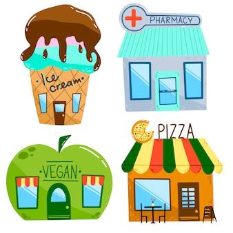 Ilustración de vector plano de casas de dibujos animados.