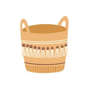 Ilustración de vector plano de cesta tejida. artículo de mimbre, vasija de costura, elemento de decoración de interiores. obra en estilo étnico, accesorio hecho a mano. artesanía con flecos aislado sobre fondo blanco.
