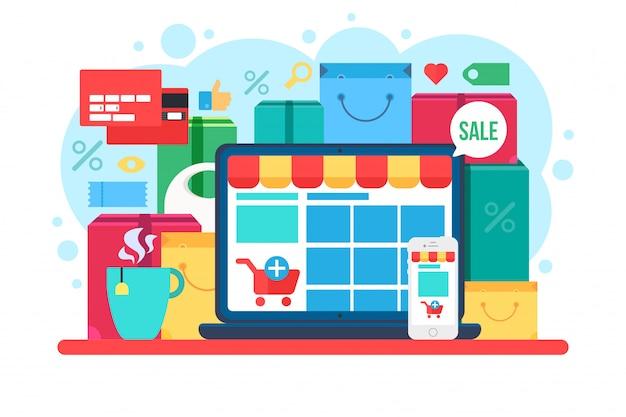 Ilustración de vector plano de comercio electrónico