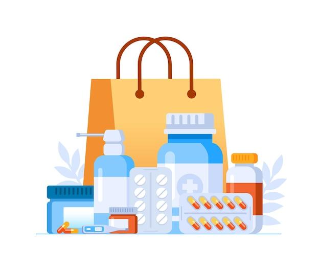 Ilustración de vector plano de compras de farmacia para banner