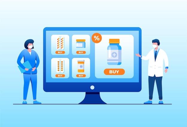 Ilustración de vector plano de compras de farmacia en línea para banner y página de destino