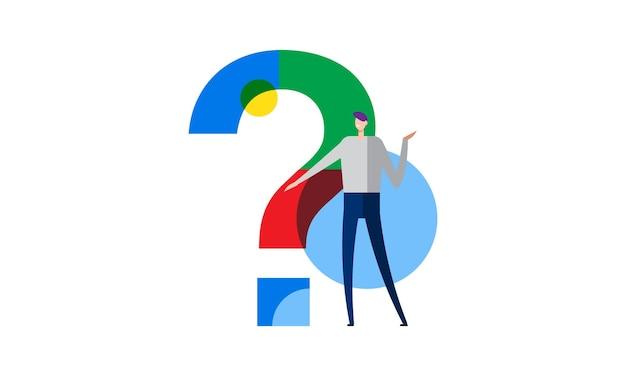 Ilustración de vector plano de concepto de preguntas frecuentes de carácter de signo de interrogación