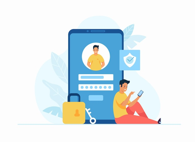 Ilustración de vector plano de concepto de registro y registro en línea. personaje de dibujos animados masculino joven sentado junto a un gran teléfono inteligente e inicie sesión en la cuenta en la aplicación de redes sociales. interfaz de usuario. inicio de sesión seguro