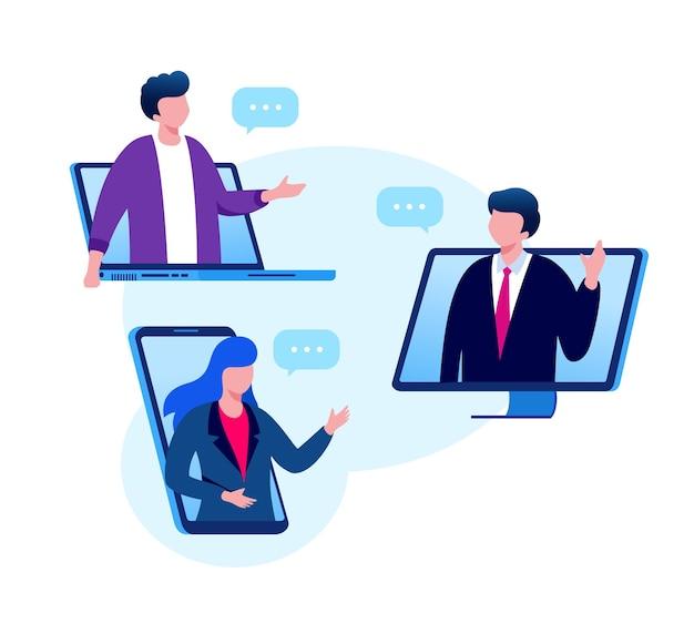 Ilustración de vector plano de concepto de reunión o videoconferencia en línea para página de inicio de banner