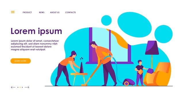 Ilustración de vector plano conjunto de limpieza familiar feliz. hija, madre y padre que trabajan para el hogar y el hogar limpio. concepto de limpieza y casa