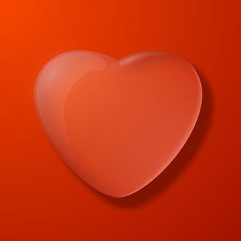 Ilustración de vector plano de corazón rojo silueta día de san valentín fondo