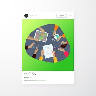 Ilustración de vector plano creativo taller artesanal. niños haciendo bordados creativos, álbumes de recortes y tejido. concepto de bricolaje, artesanía y artesanía.