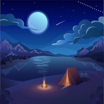 Ilustración de vector plano de descanso nocturno camping cielo nocturno luna luz de luna en el agua lago de montaña