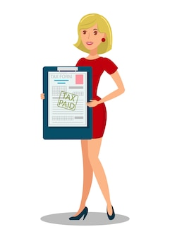 Ilustración de vector plano de documento de tenencia de contribuyente
