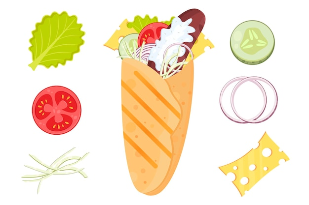 Ilustración de vector plano doner kebab shawarma burrito tortilla de comida rápida de dibujos animados con salchicha