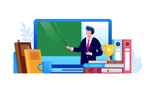Ilustración de vector plano de educación en línea para banner web landing page