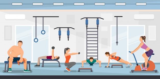 Ilustración de vector plano entrenamiento fitness club.