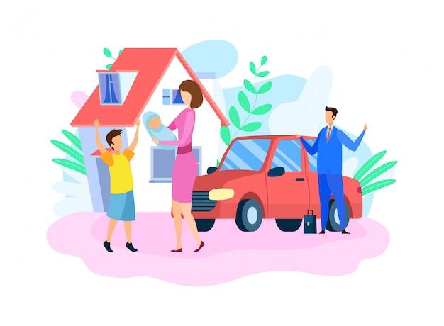 Ilustración de vector plano familia feliz tradicional