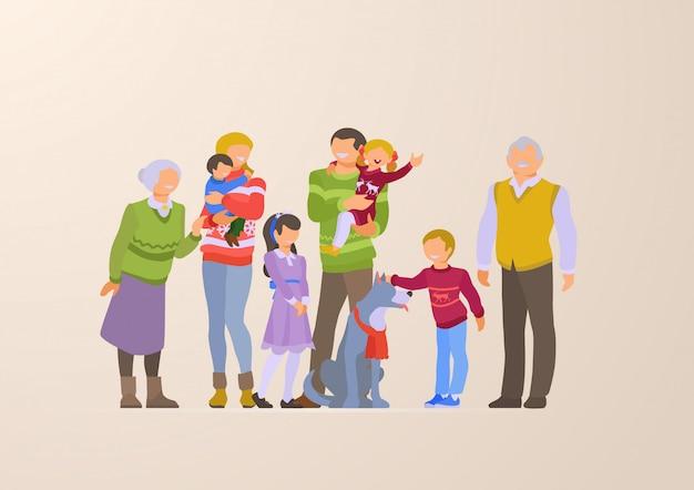 Ilustración de vector plano familia feliz